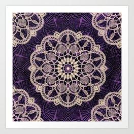 Mandala Purple Soul Bohemian Zen Spiritual Hippie Yoga Mantra Meditation Art Print