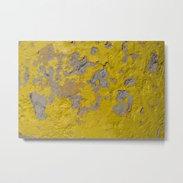 Yellow Peeling Paint on Concrete 1 Metal Print
