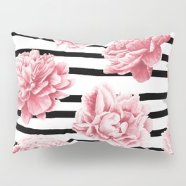 Simply Drawn Stripes and Roses Pillow Sham