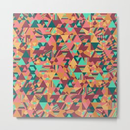 Colourful triangular mosaic in orange, red and green Metal Print