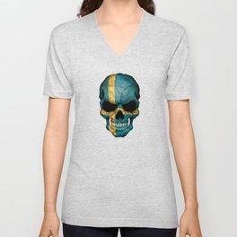 Dark Skull with Flag of Sweden Unisex V-Neck