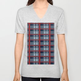 Red Line White And Red Lumberjack Flannel Pattern Unisex V-Neck