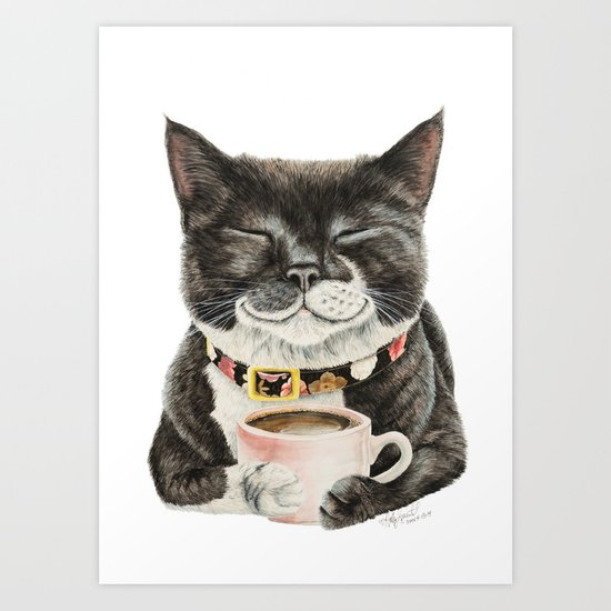 Purrfect Morning , cat with her coffee cup by hollysimental