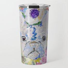 Abstract French bulldog floral watercolor paint Travel Mug