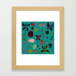 bugs and insects green Framed Art Print