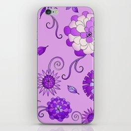 Purple Crazy Daisy pattern iPhone Skin
