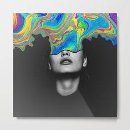 Mind Colors Black Rainbow Neon Portrait Photo Collage Metal Print