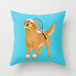 Ready for Tennis Practice (Blue) Throw Pillow