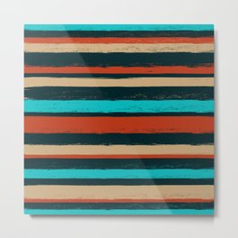 Stripes - Turquoise Tan Coffee Metal Print