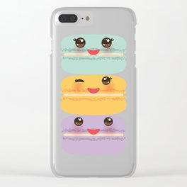 Kawaii macaroon funny orange blue lilac cookie with pink cheeks with pink cheeks and big eyes Clear iPhone Case