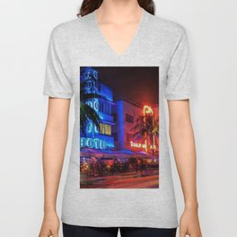 South Beach Miami Portrait in Colorful Time Lapse Paint by Jeanpaul Ferro Unisex V-Neck