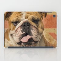 english bulldog iPad Cases featuring English Bulldog, Great Britain flag ! by Life on White Creative