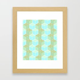 Cubes in teal and golden chevron Framed Art Print
