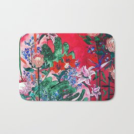 Ruby Red Floral Jungle Bath Mat
