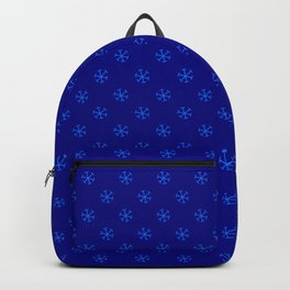 Brandeis Blue on Navy Blue Snowflakes Backpack