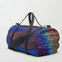 Peacock feather close up Duffle Bag