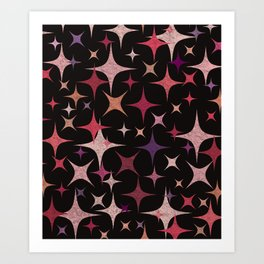 Shimmering Purple, Red, Pink and White Stars Art Print