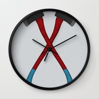 tool Wall Clocks featuring A Noble Tool by Pinwheel Society