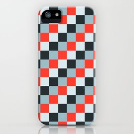Stainless steel knife - Pixel patten in light gray , light blue and red iPhone Case