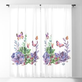 A Splendid Secret Succulent Garden With Butterfly Visitors Blackout Curtain