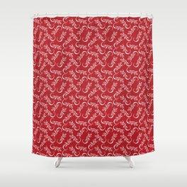 Beautiful delicate distressed white artistic crawling lizards. Elegant burgundy red lizard pattern Shower Curtain