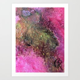 "Abstract Original Painting ""Magenta Ocean"", Contemporary Artist Abstract Artwork, Mixed Media Art Print"