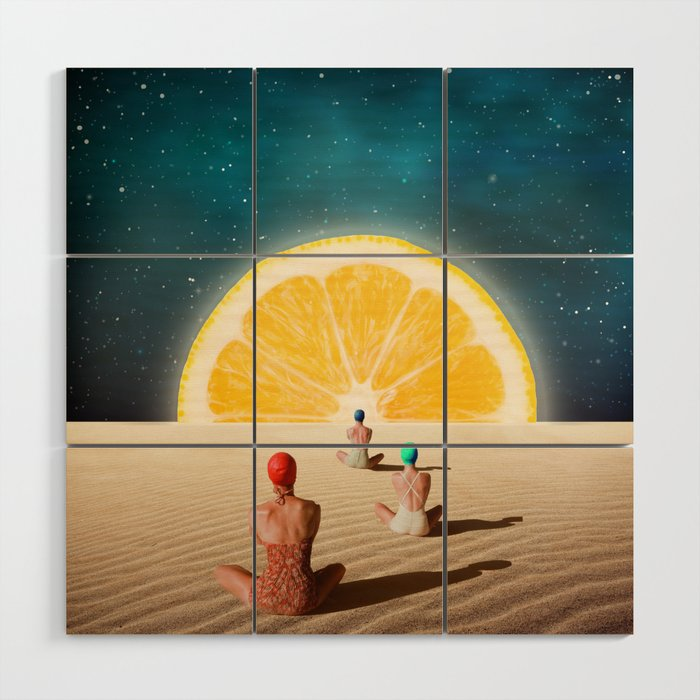 Desert Moonlight Meditation Wood Wall Art