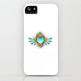 Banner with Glass Mechanical Wings ( Steampunk Wings ) iPhone Case