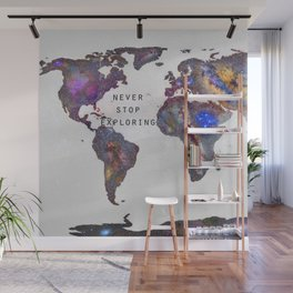 """Star map. Never stop exploring...II"". World map. Wall Mural"