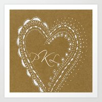 monogram Art Prints featuring monogram by L Step