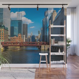 View of Chicago River Skyline Wells Street Bridge Windy City  Wall Mural