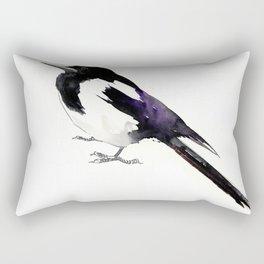 Magpie, bird art, minimalist magpie bird painting Rectangular Pillow