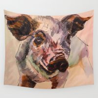 pig Wall Tapestries featuring Pig by Emily Tucci