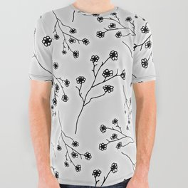 Baby's Breath Flower Pattern - Snow All Over Graphic Tee
