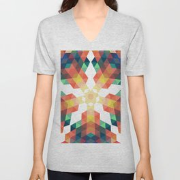 Retro star backdrop. Mosaic hipster background made of triangles Unisex V-Neck