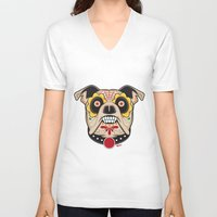 pit bull V-neck T-shirts featuring Pit Bull Sugar Skull by Granman
