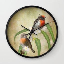 Australian Scarlet Robin Wall Clock