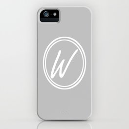 Monogram - Letter W on Gray Background iPhone Case