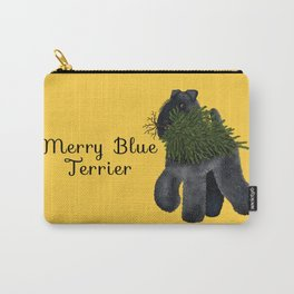 Merry Blue Terrier (Yellow Background) Carry-All Pouch