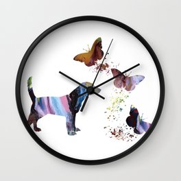 Beagle And Butterflies Wall Clock