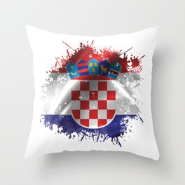 Croatian Splatter Throw Pillow