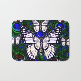 BLUE-GREEN PEACOCK ART WHITE MONARCH'S Bath Mat
