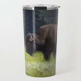 American Buffalo Bison Mother and Calf in Yellowstone National Park Travel Mug