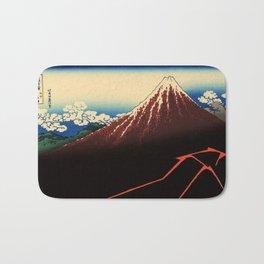 "Hokusai (1760–1849) ""Rainstorm Beneath the Summit"" Bath Mat"