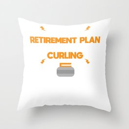 Curling Player Coach Stone Retirement Plan Gift Throw Pillow