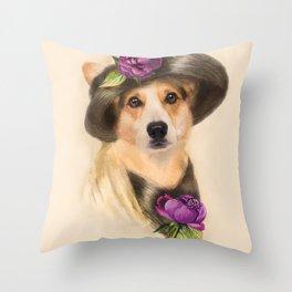 Corgi dog lady Throw Pillow