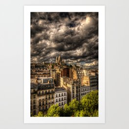 Storm over Montmartre with Sacre Coeur Art Print