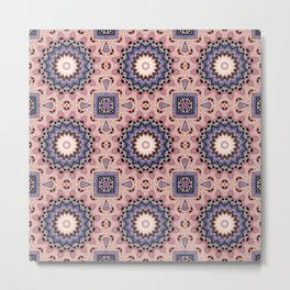 Pink blue ethnic pattern . Metal Print
