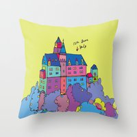 castle in the sky Throw Pillows featuring castle by PINT GRAPHICS