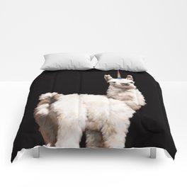 Unicorn Baby Llama in Black Comforters